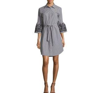 NWT Calvin Klein striped eyelet bell sleeve dress